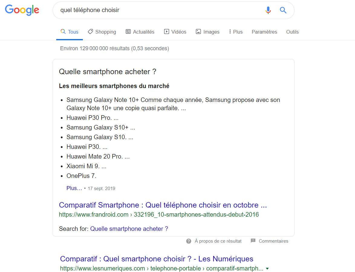 Exemple de position zéro sur Google